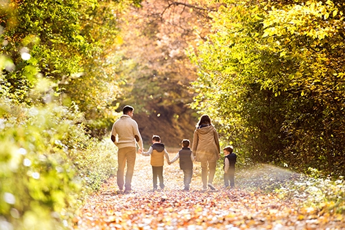 Outdoor Fall Activities - Beautiful young family on a walk in forest. Mother and father with their three sons in warm clothes outside in colorful autumn nature.